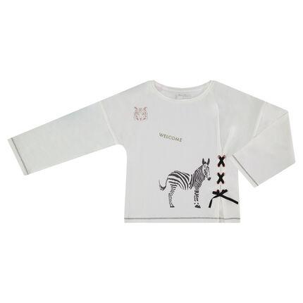 Tee-shirt manches longues avec prints brillants et laçage fantaisie