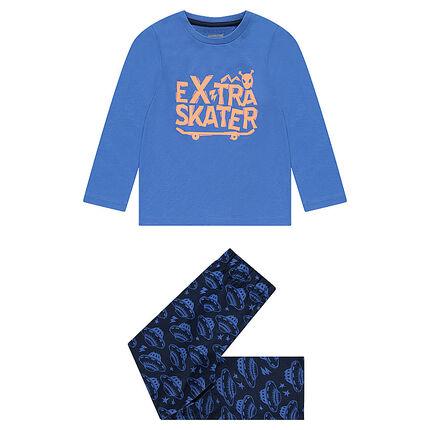 Pyjama en jersey avec skateboard et soucoupes volantes printés