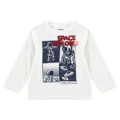 Tee-shirt manches longues en jersey avec motif et sequins magiques