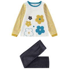 Pyjama en velours avec grosses fleurs brodées