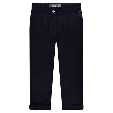 Pantalon carotte en coton avec broderie