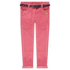 Pantalon en velours avec ceinture amovible et fleurs brodées