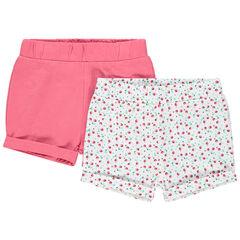 Lot de 2 shorts en coton bio uni/imprimé