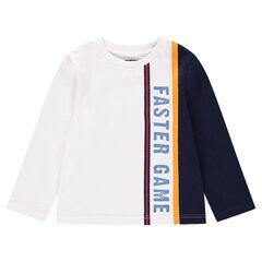 Tee-shirt manches longues avec bandes contrastées et inscription