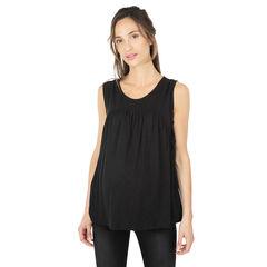 c8fed01a888 Tee-shirt de grossesse sans manches en lin avec nouettes sur les côtés