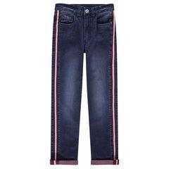 Junior - Jeans slim effet used avec bandes appliquées sur les côtés