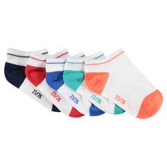 Lot de 5 paire de chaussettes courtes avec bout et talon contrastés