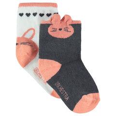 Lot de 2 paires de chaussettes assorties motif lapin en jacquard