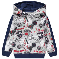 Sweat en molleton à capuche imprimé baseball all-over