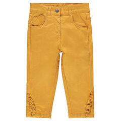 Pantalon en coton uni avec doublure en jersey et finition volantée