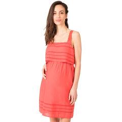 Robe de grossesse en coton avec maille ajourée placée