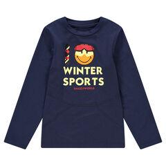 Tee-shirt manches longues en jersey avec ©Smiley printé sur le devant