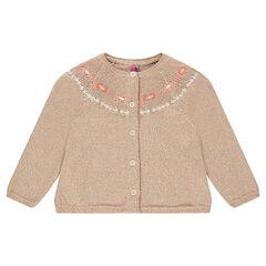 Gilet en tricot pailleté avec broderies incas
