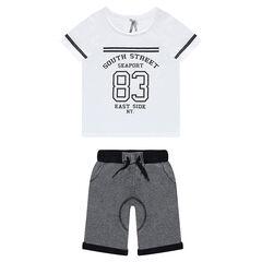 Junior - Ensemble tee-shirt manches courtes printé et bermuda en molleton