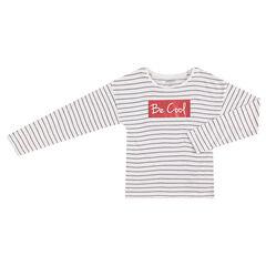 Tee-shirt manches longues à rayures jacquard et print pailleté