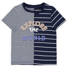 Tee-shirt manches courtes à rayures et inscription en bouclette