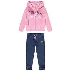 Jogging à gilet rose en velours et pantalon en molleton ottoman