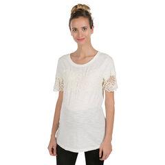 Tee-shirt de grossesse manches courtes avec fleurs en guipure