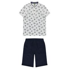 Junior - Tee-shirt manches courtes imprimé feuilles et bermuda en molleton