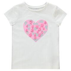 Tee-shirt manches courtes en jersey avec coeur printé et paillettes