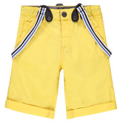 Bermuda jaune avec bretelles rayées amovibles