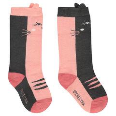 Lot de 2 paires de chaussettes hautes avec chat en jacquard et bord-côte fantaisie