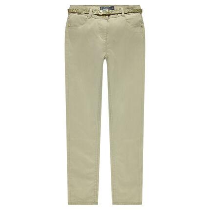 Pantalon slim en satin de coton avec ceinture pailletée amovible