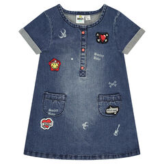 Robe manches courtes en jeans effet used avec badges ©Smiley