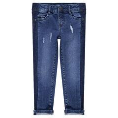 Jeans slim effet used avec bandes sur les côtés