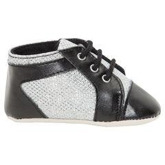 Babies montantes à lacets coloris noir et argent