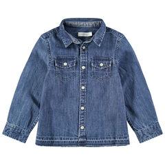 Chemise manches longues en jean used à poches pressionnées