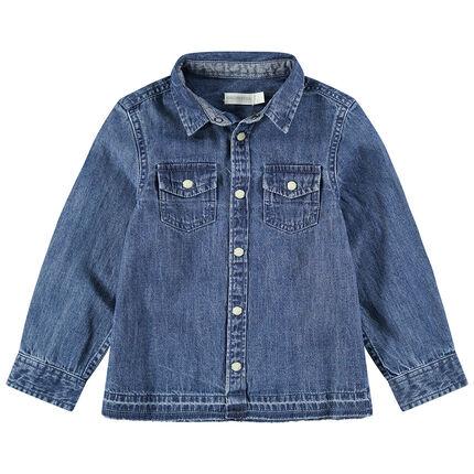 Junior - Chemise manches longues en jean used avec snaps effet nacre