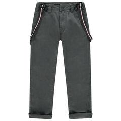 Pantalon chino à bretelles amovibles et poches italiennes