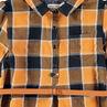 Robe manches longues à carreaux contrastés et ceinture amovible