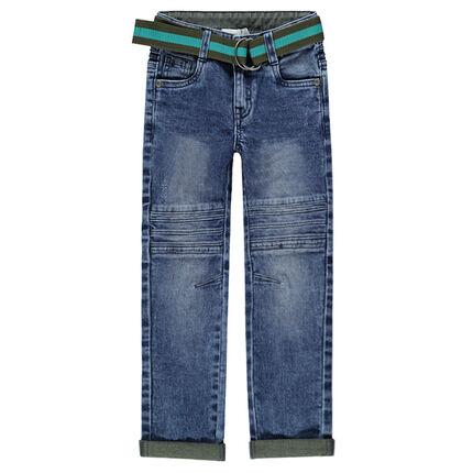 Jeans effet used et crinkle avec ceinture amovible et ajustable
