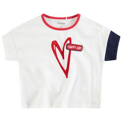 Tee-shirt manches courtes en jersey avec coeur printé et badge en bouclette