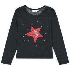 T-shirt manches longues en maille fine à étoile en sequins