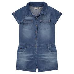 Junior - Combi-short en chambray coton élasthanne effet used à poches