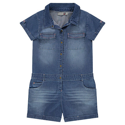 Junior - Combi-short en chambray coton élasthanne effet used à poches