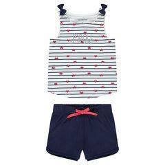 3c62293c31624 Pyjama en jersey avec rayures contrastées et short uni