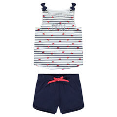 1a7147e85aa94 Pyjama en jersey avec rayures contrastées et short uni