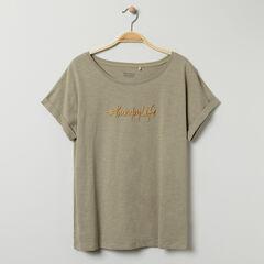 T-shirt de grossesse manches courtes kaki à message brodé , Prémaman