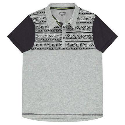 Junior - Polo manches courtes en jersey avec motif ethnique placé