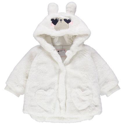 Veste en sherpa forme cape avec capuche à oreilles en relief
