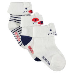 Lot de 3 paires de chaussettes à revers et motif jacquard avec oreilles en relief
