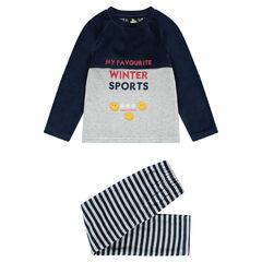 Pyjama en velours bicolore avec inscriptions brodées et prints Smiley