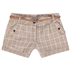 Junior - Short à carreaux et ceinture en simili cuir