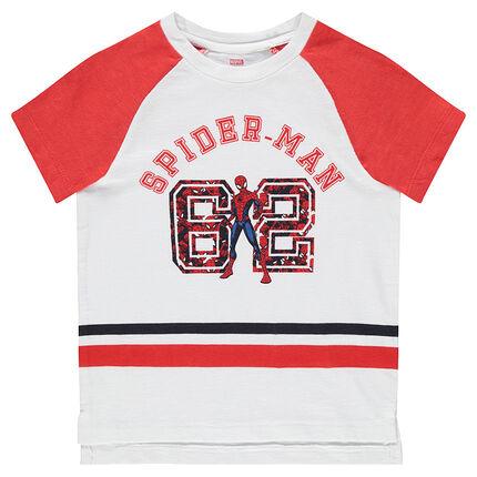 Tee-shirt manches courtes avec bandes et Marvel Spiderman printé