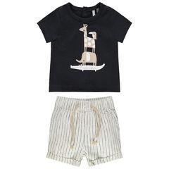 Ensemble avec t-shirt print animaux et short à rayures