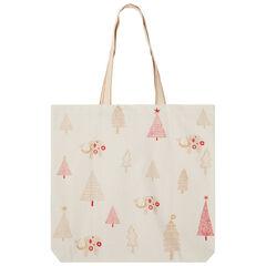 Tote bag en coton recyclé à motifs esprit Noël all-over